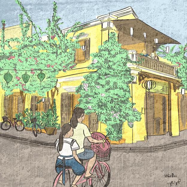 Hoi An old town street illustration