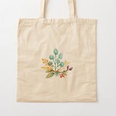 Leaves Watercolor Bouquet Cotton Tote Ba