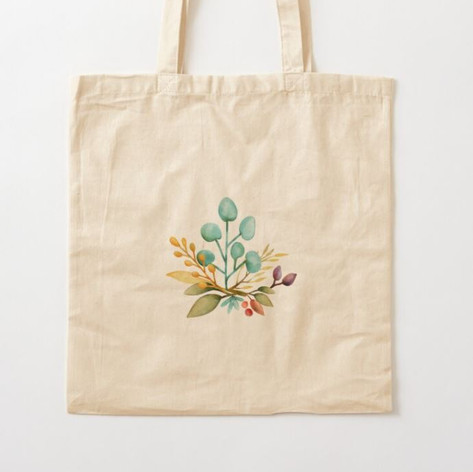 Leaves Watercolor Bouquet Cotton Tote Ba