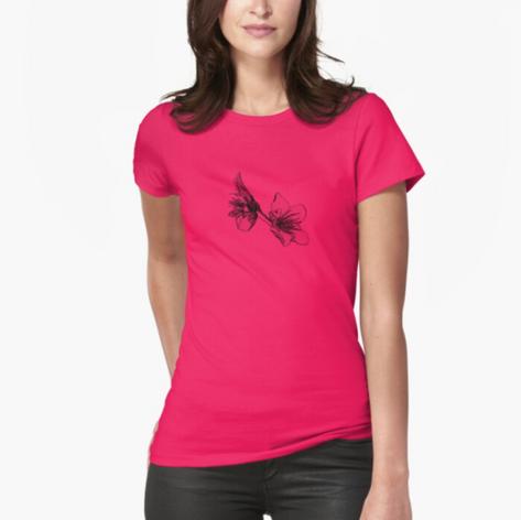 Almond Flower Black Ink T-Shirt