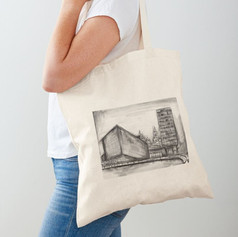 Liverpool Charcoal Sketch Cotton Tote Ba