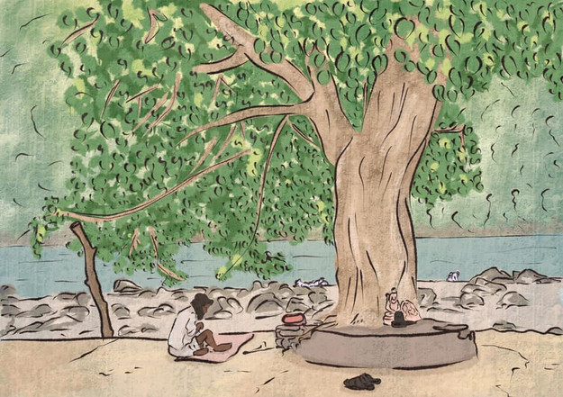 An illustration of a man sitting under a tree