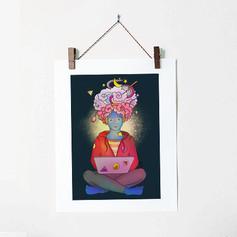 Brainstorming Colorful Illustration Lapt