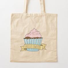 Hello Sweetie Cupcake Cotton Tote Bag