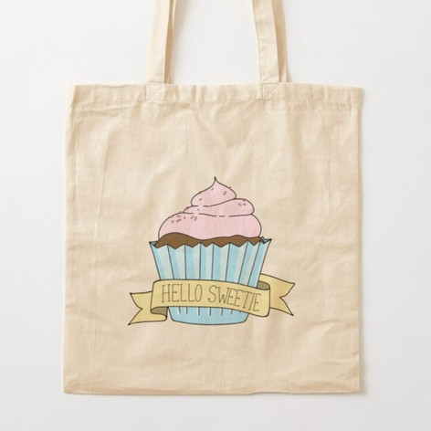 Hello Sweetie Cupcake Cotton Tote Bag
