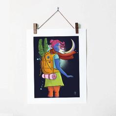Woman Traveler Colorful Illustration Art