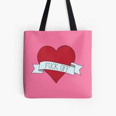 Fuck Off Heart Tote Bag