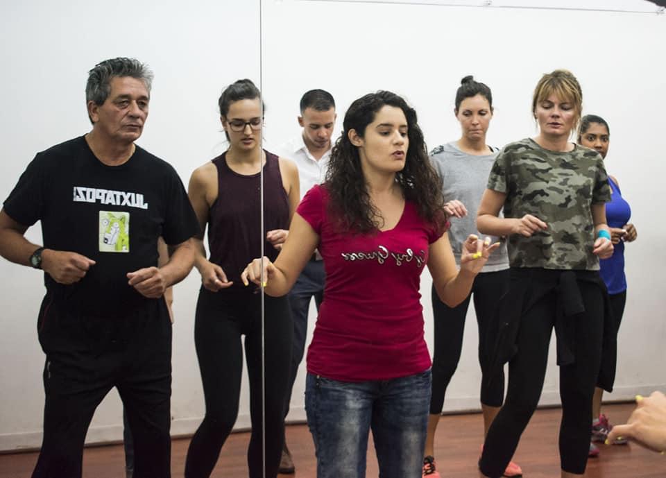 Jessica teaching Beg Salsa class