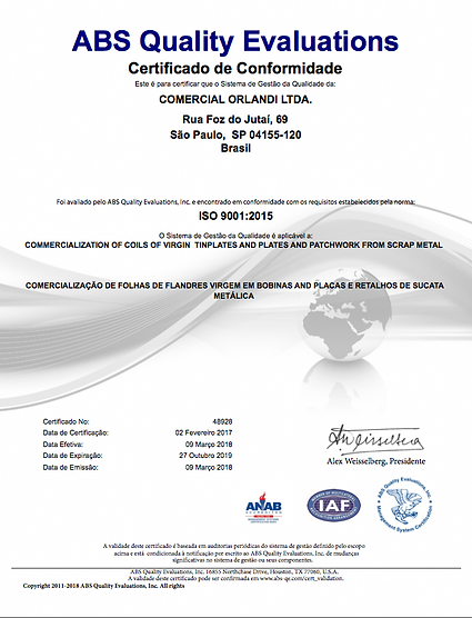 Certificado ABS Quality Evaluations