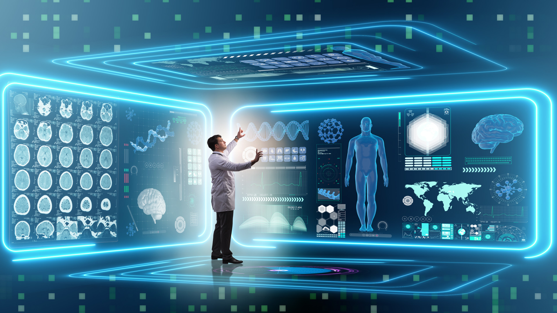 Man doctor in futuristic medicine medica