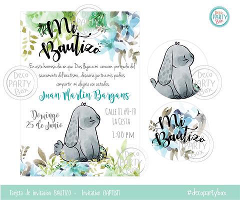 Tarjeta Invitacion Bautizo Conejo Vintage