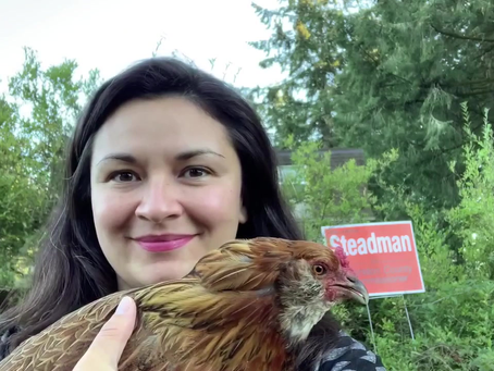 Nicolette Oliver - and her chicken, endorse Michael Steadman. Best endorsement ever.
