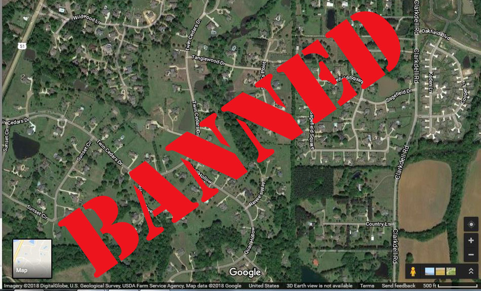 BANNED: According to a Mississippi regulatory board, drawing lines on satellite images is tantamount to surveying without a license. Image from Google Maps, photo illustration by Steve Wilson