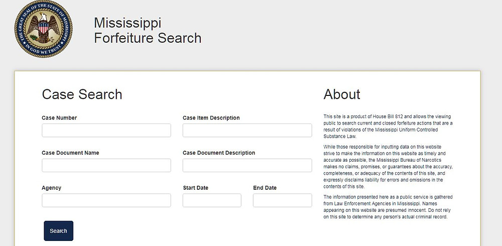 UP: The Mississippi civil asset forfeiture database is now online.