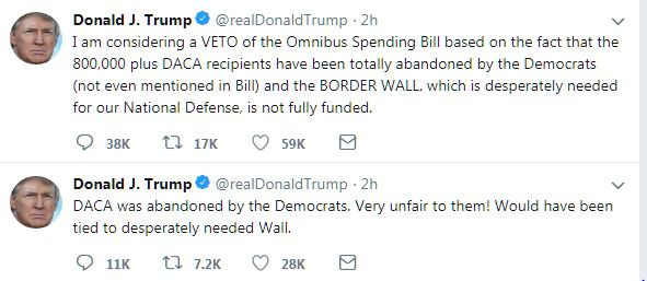 THREAT: President Donald Trump could possibly veto the $1.3 trillion spending bill that only covers the nation until September 30.