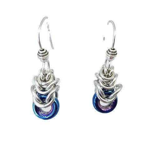 Blue Iris small temple drop Earrings