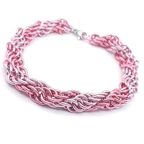 Spiral 4:1 Pretty in Pink Chainmaille Bracelet