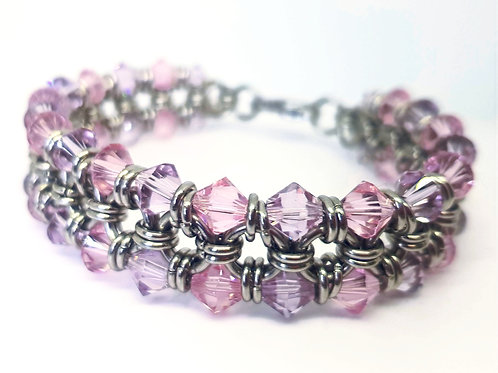 Pink Ice Chainmaille Bracelet