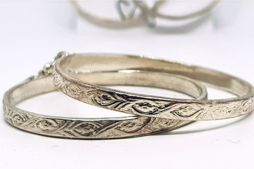 Alpaca silver hand stamped hoop earrings