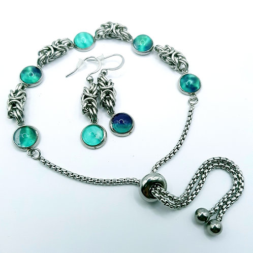 Malachite glass slider Bracelet & Earrings