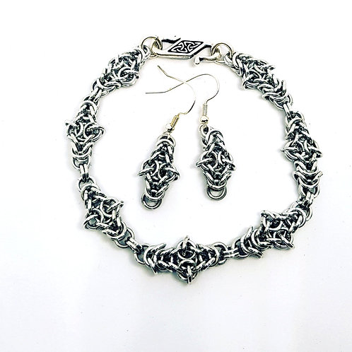 Viking Knot Chainmaille Bracelet & Earring set