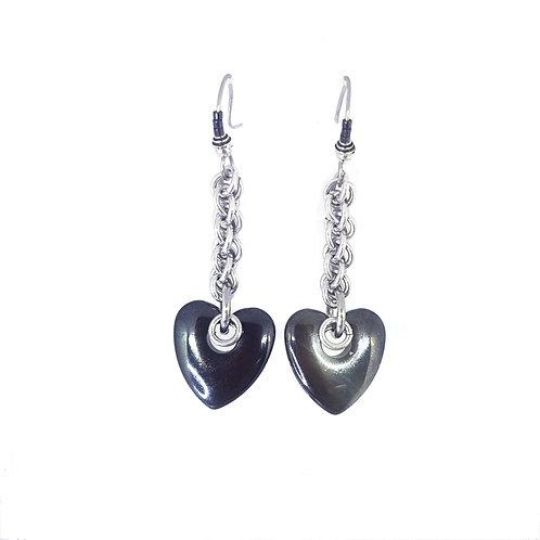 Hematite Heart drop Earrings