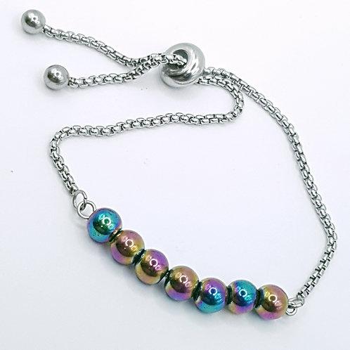 Rainbow Hematite slider Bracelet & Earrings
