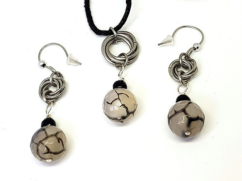 Opaque Crackle bead Mobius necklace and earring set