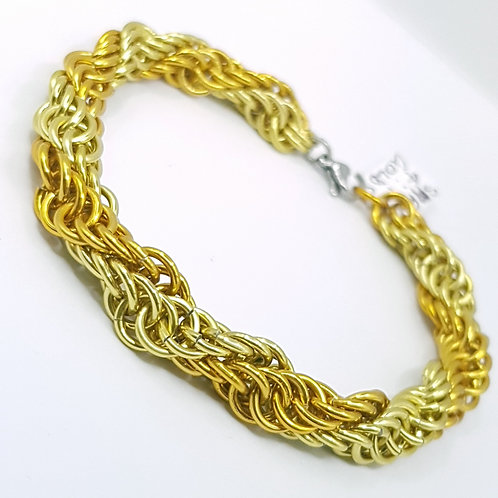 Spiral 4:1 Double Gold Chainmaille Bracelet