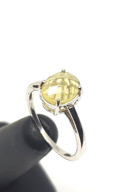 Sterling Silver Citrine Faceted Cabochon Ring