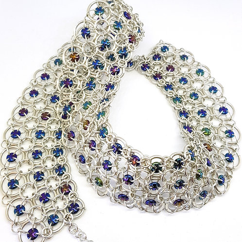 Blue Iris Lattice Chainmaille Collar / Necklace