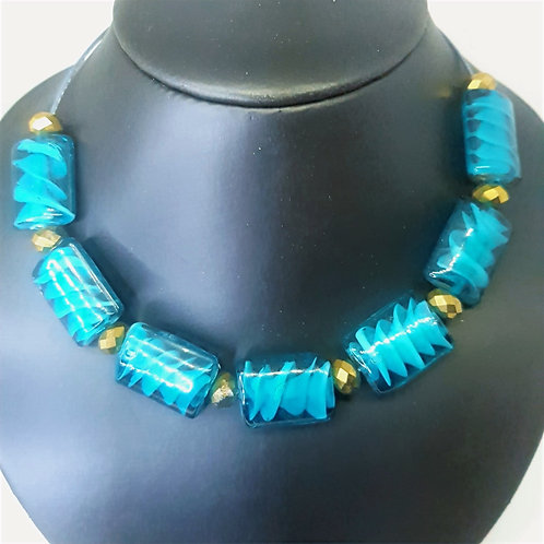 Blue Spiral Glass and Bronze Rondelle  Choker