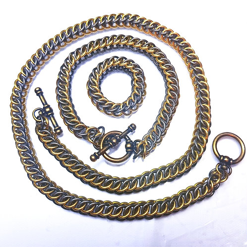 Half Persian 3in1 Chainmaille Two Tone Necklace, Bracelet and Ring