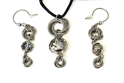 Crystal Facet Mobius necklace and earring set