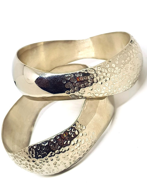Mexican silver hammered hollow wave bangles