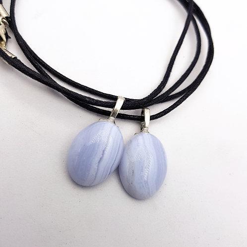 Blue Lace Agate cabochon Pendant