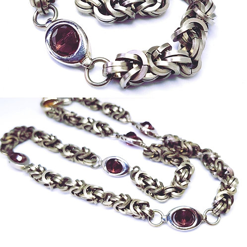 Byzantine and Amethyst crystal chainmaille necklace