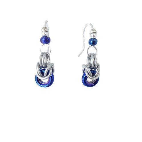 Blue Iris half Byzantine drop Earrings