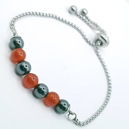 Hematite and Blood Agate slider Bracelet