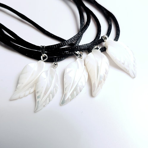 Mother of pearl carved feather Pendant