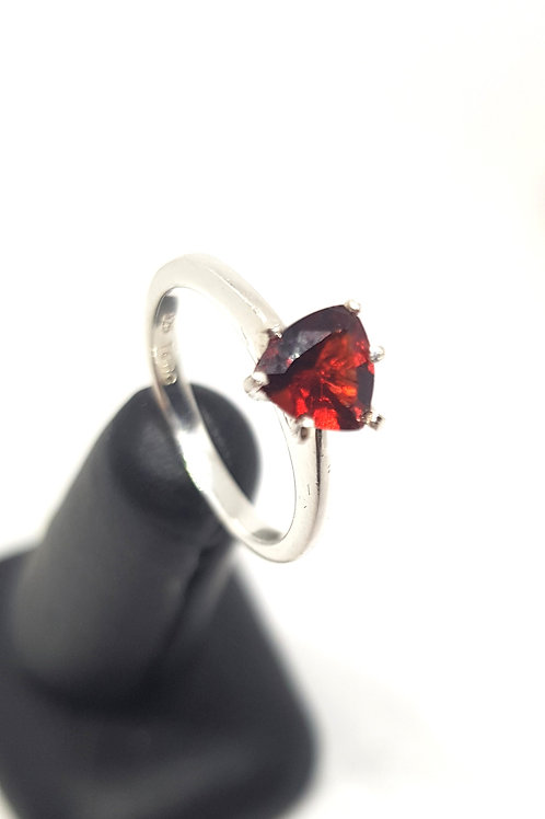 Sterling Silver Ruby Trillion Ring