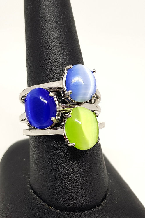 Sterling Silver Cats Eye Cabochon Ring