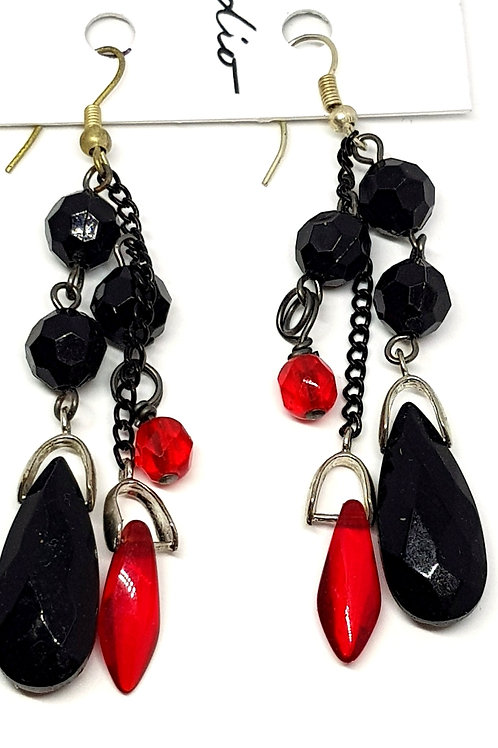Gothic black and red drop earrings