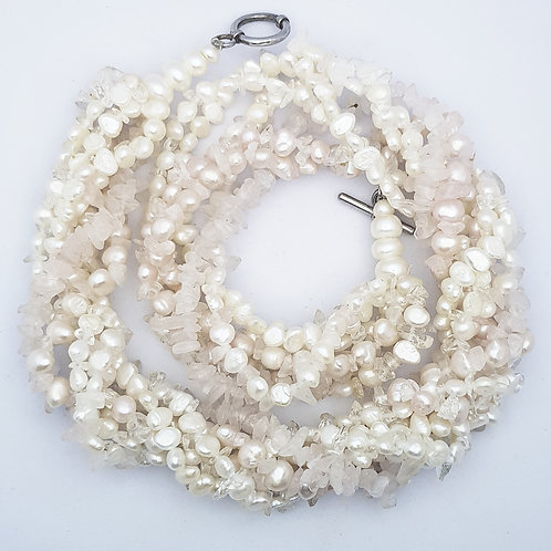 Freshwater pearl and clear crystal quartz Torsade Necklace
