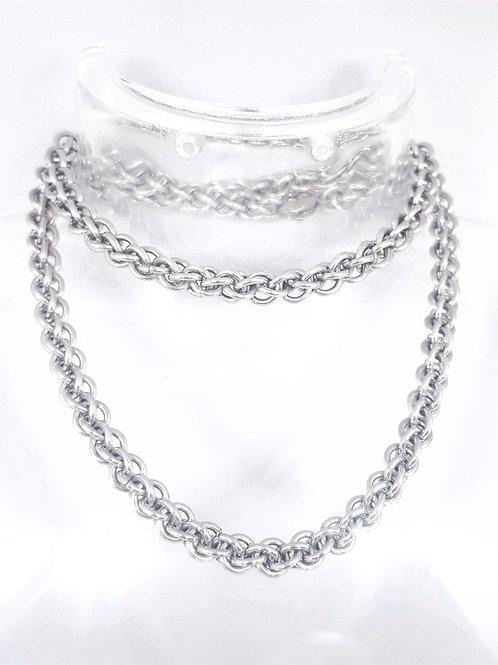 Jens Pind Linkage 3  Necklace Bright Aluminium