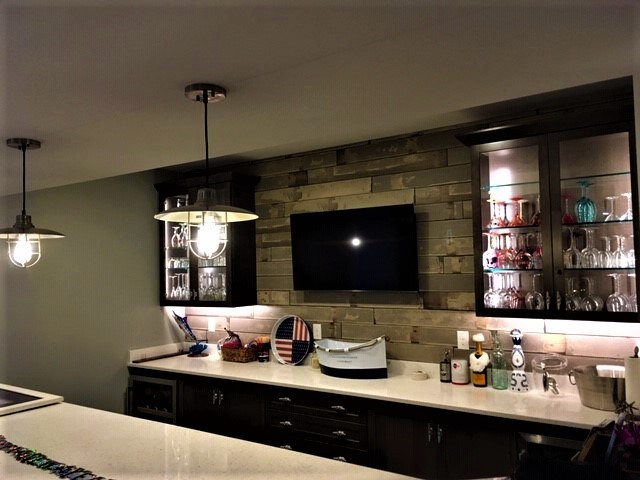 Basement TV Installed Above Bar