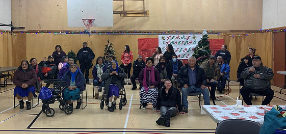 Group photo of elders at Christmas feast