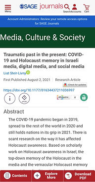 """""""Traumatic past in the present: COVID-19 and Holocaust memory in Israeli media, digital media, and social media"""""""
