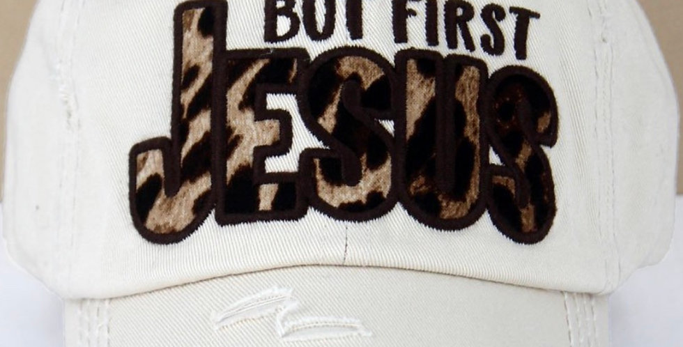 Light Tan-But First Jesus Distressed Cap