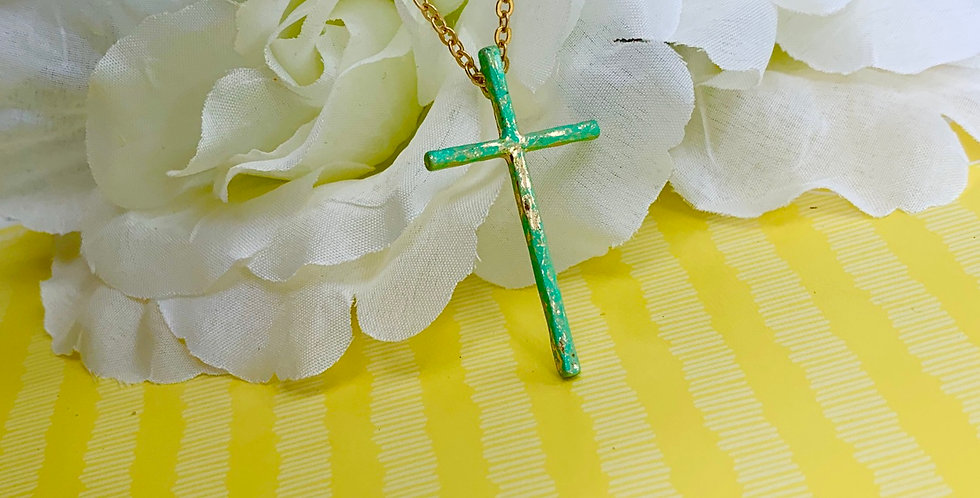 Rusted Cross Long Chain Necklace